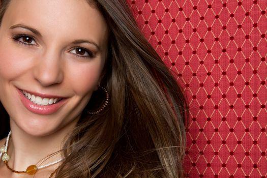 Beautiful smiling woman face closeup