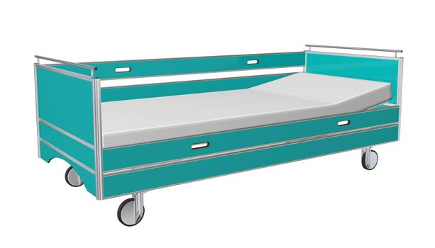 Green and grey mobile children's hospital bed with recliner and side guards, 3D illustration, isolated against a white background