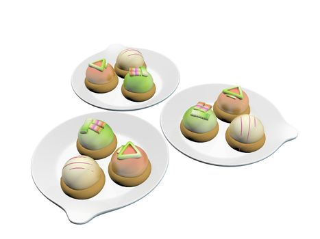 Colorful topped desserts or french macaron served on round ceramic plates, 3d illustration, isolated against a white background