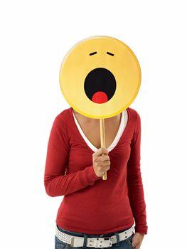 woman with emoticon