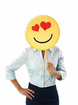 businesswoman with emoticon