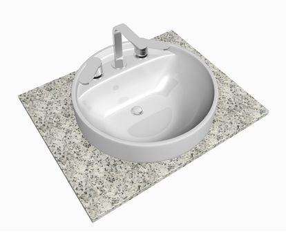 White round sink with chrome faucet, sitting on a granite table or slab, isolated against a white background