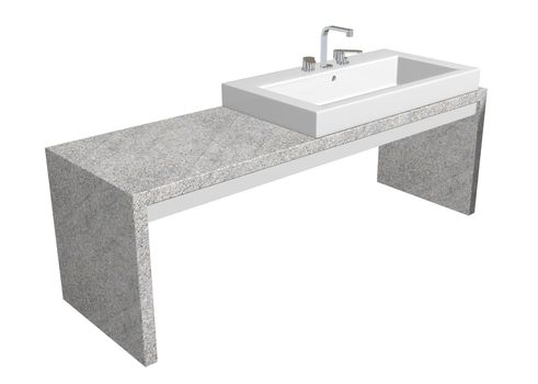 White square sink with chrome faucet, sitting on a granite table, isolated against a white background
