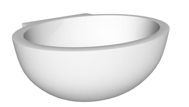 Modern egg-shaped washbasin or sink, isolated against a white background.