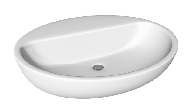 Egg-shaped and shallow washbasin or sink, isolated against a white background.