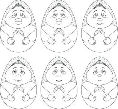 Doll matreshka, Russian traditional national wooden doll, contours, set