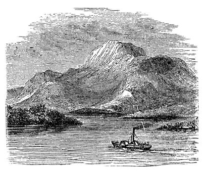 Loch Lomond on Highland Boundary Fault Scotland vintage engravin