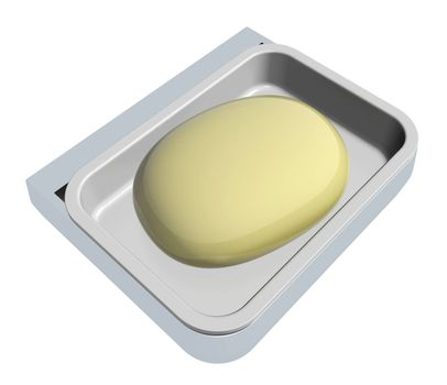 Cream colored soap in a soap holder or container, isolated against a white background
