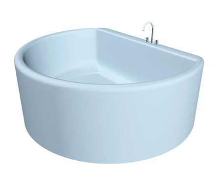 White semi-circular modern bathtub with stainless steel fixtures, isolated against a white background