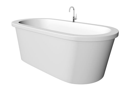 White and deep modern white bathtub with stainless steel fixtures, isolated against a white background