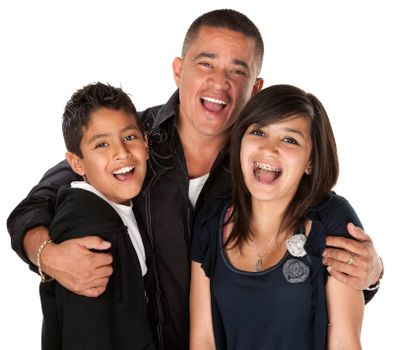Native American father holding his children and laughing on white background