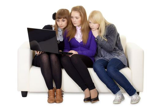 Young girl communicate on social network online