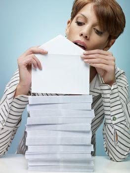 businesswoman sending mail