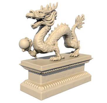 White Chinese dragon statue holding a ball in his claws, isolated against a white background. Perspective view 3D image.