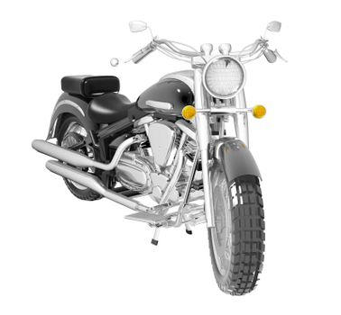 Classic black leather and chrome motorbike or moto, isolated against a white background. 3D illustration