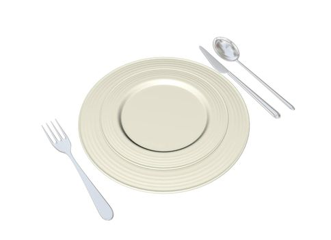 Metal plates with stainless steel spoon fork and knife, 3D illustration, isolated against a white background