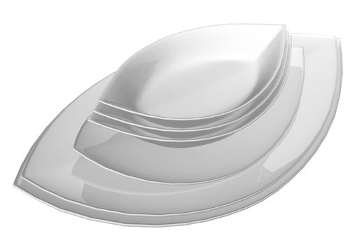Leaf shaped ceramic serving dishes, 3D illustration, isolated against a white background