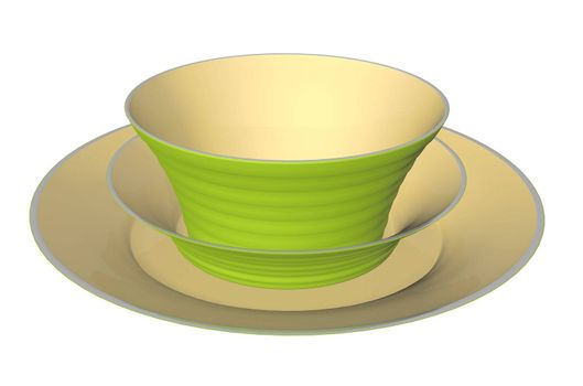 Green and beige ceramic dinner plate and bowls, 3D illustration, isolated against a white background