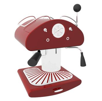 Red and chrome espresso coffee machine, 3D illustration, isolated against a white background