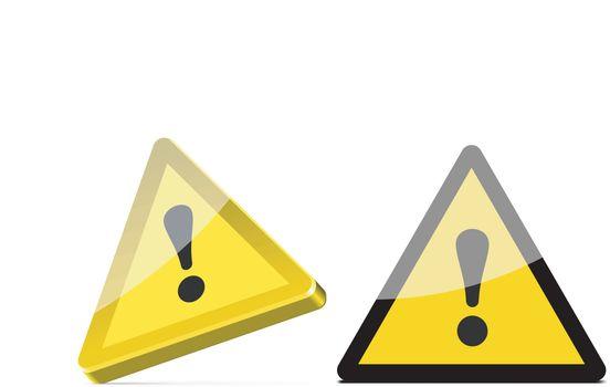 triangular warning sign isolated on white background