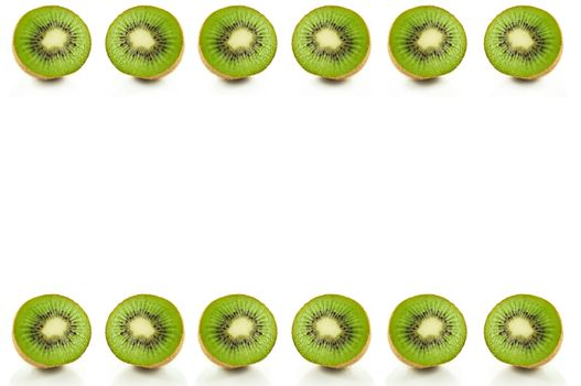 Six small kiwi fruit halves arranged in a horizontal line along the bottom and top of the image and over white.