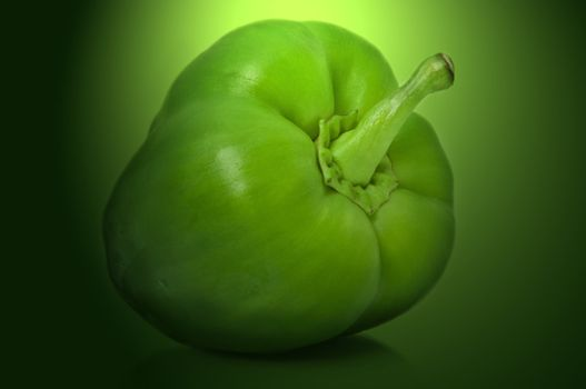 Close up capturing a single green bell pepper with green filter light effect background.
