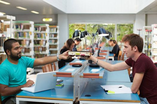 group of people in library
