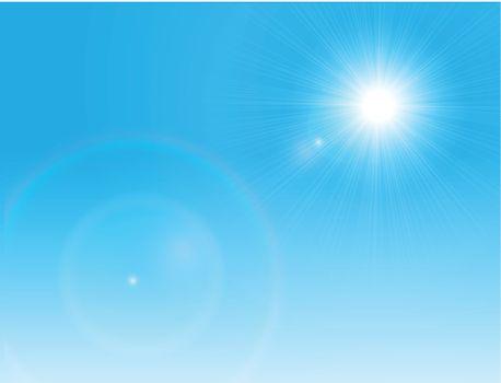 Vector sun on a clear blue sky