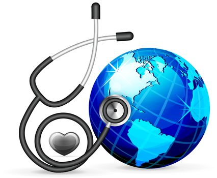 stethoscope and blue earth vector illustration isolated on white background
