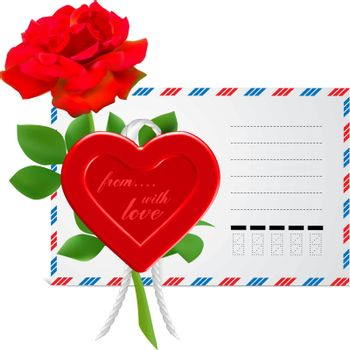 envelope to the St.Valentine illustration isolated on white background
