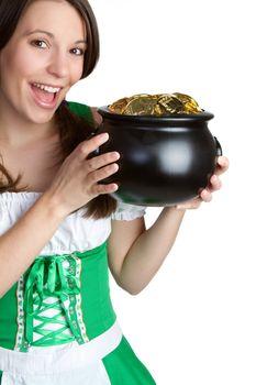 Irish woman holding pot of gold
