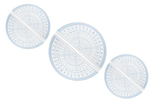 Several blue plastic protractors arranged in formation over white.