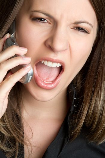 Angry yelling cell phone woman
