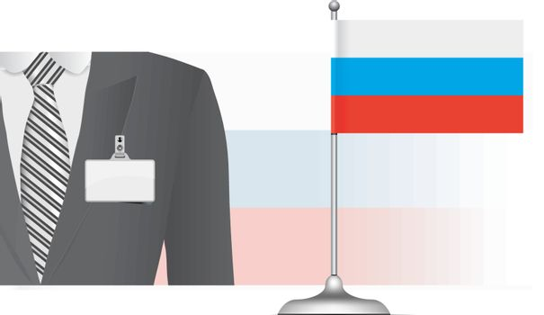A Russian diplomat at the background of the flag. Vector illustration