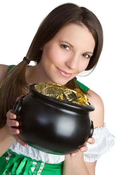 Irish pot of gold woman