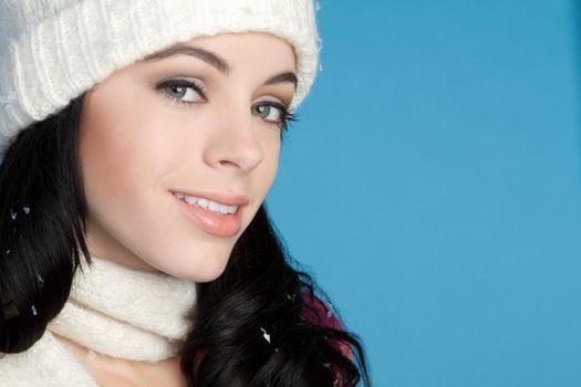 Winter woman wearing beanie scarf