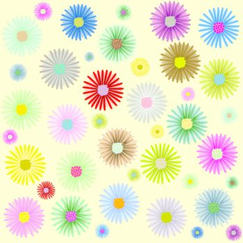 colored flowers pattern, vector art illustration; more patterns in my gallery