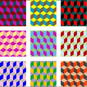 nine different versions of psychedelic patterns