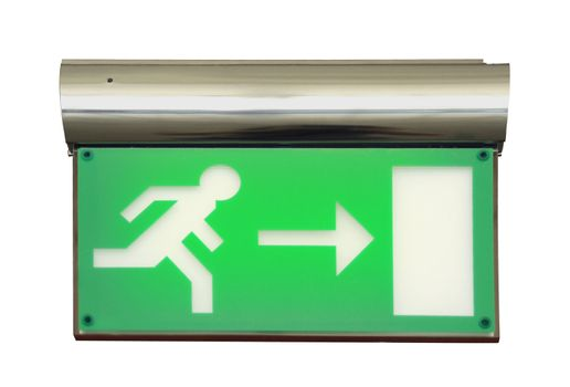 Emergency exit sign with clipping path