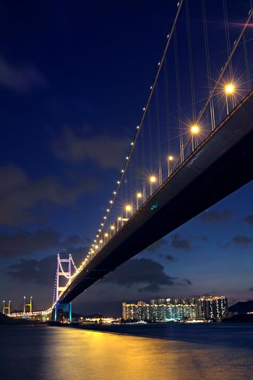 traffic highway bridge at night,hong kong