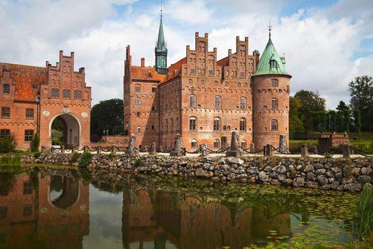 Egeskov castle in Denmark, built in 1554