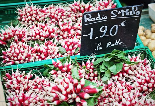 Radish on sale on a farm market; price tag in French