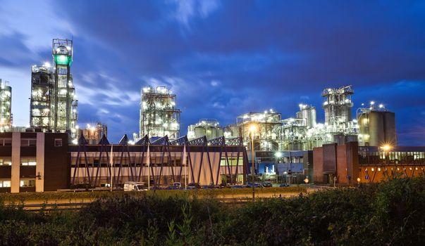 Operational petrochemical plant in twilight (Antwerp port, Belgium)