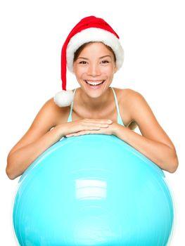 Christmas fitness woman in santa hat