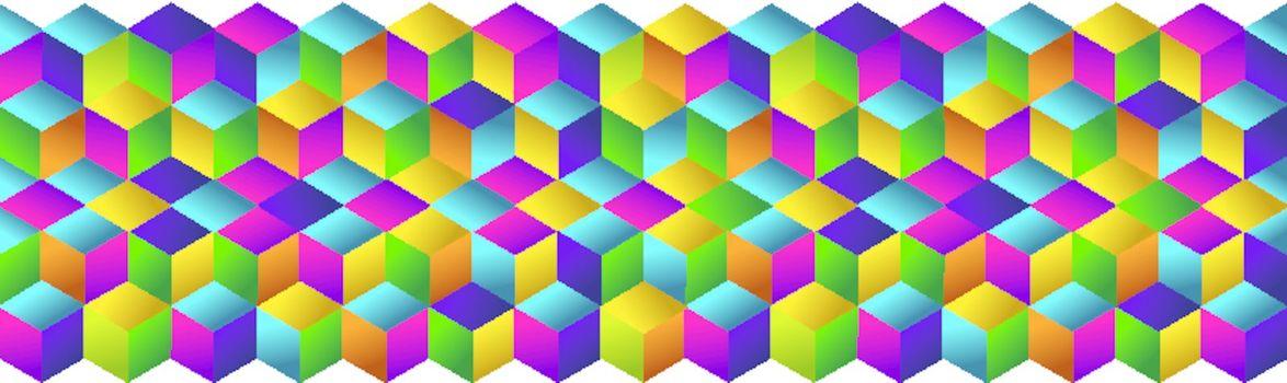 Muliticolored cubes strip pattern.