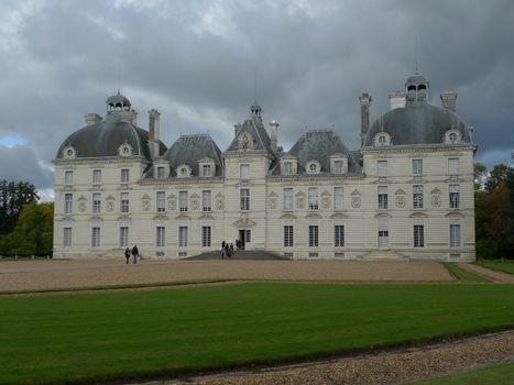 Cheverny Castle in France on a cloudy fall day