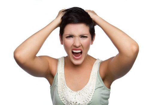 Isolated beautiful angry screaming woman