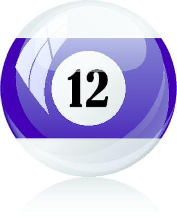 Vector illustration of a isolated glossy - twelve, half-violet - pool ball against white background.