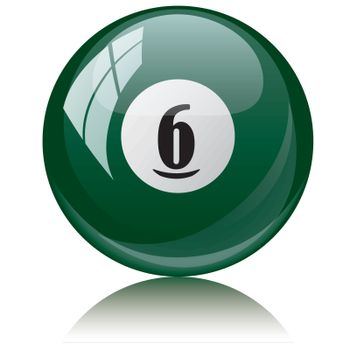 Vector illustration of a isolated glossy - six, green - pool ball against white background.