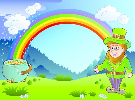 Meadow with rainbow and leprechaun